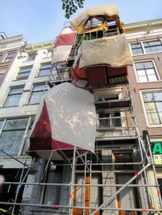 Vertical Campsite by Leonard van Munster, Amsterdam Ice Fishing Huts, Parasitic Architecture, Wall Of Water, Temporary Structures, Scaffolding, Beautiful Buildings, Installation Art, Wall Design, Les Oeuvres