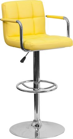 Item #: CH-102029-YEL-GG www.ashleydeals.com/yellow-adjustable-bar-stool-ch-102029-yel-gg.html #Flashfurniture #Yellow #Quilted #Adjustable #Barstool #Arms #Kitchen #Restaurant #Basement #Metal #Chrome #Furniture #Business #Online #Ashley #Deals #Ashleydeals