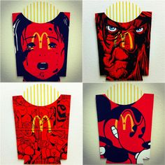 Original Art With A Side Of Fries. Painted McDonalds French Fry Packages by Ben Frost. (see all 38 at the link)