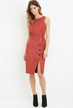 Contemporary Faux Suede Sheath Dress | LOVE21 #f21contemporary