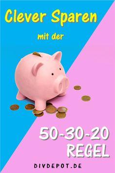 Mit der 50-30-20 Regel richtig Sparen und ganz einfach das Budget einteilen. Das ordnen der Haushaltsfinanzen gelingt im Handumdrehen. Cash Envelope System, Working Mums, Cash Envelopes, Project Management, Extra Money, Personal Finance, Piggy Bank, Budgeting, Investing