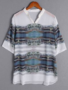 Refreshing Paysage Print 3/4 Sleeve Plus Size Dress For Women