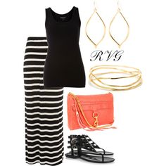 Love the black and white skirt