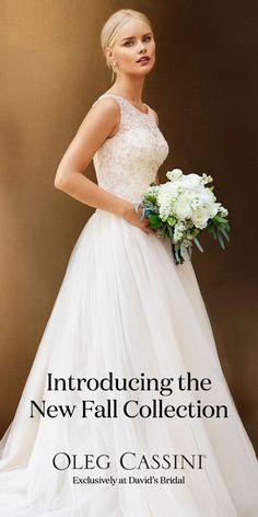 Brand new Oleg Cassini designer wedding dresses have arrived at David's Bridal…