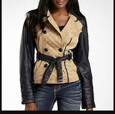 Leather & Khaki Jacket Jacket Jcpenney,   Khaki Quilted, Faux Leather  a.n.a?   Never fit my daughter  It comes with a Replacement button inside lining a.n.a Jackets & Coats