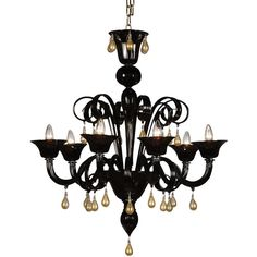 Fornace Mian Manin Chandelier (18.080 RON) ❤ liked on Polyvore featuring home, lighting, ceiling lights, black, onyx lamp, black chandelier light, black chandeliers, black chandelier lighting and black lamp