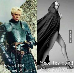 Game of Thrones Funny Memes - Ahaha!! How we see Brienne of Tarth vs how Tormund sees her