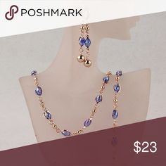 Austrian  Blue Crystal Necklace Set 3PC  blue Austrian crystal necklace set Jewelry Necklaces