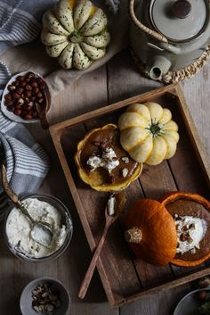winter squash crustless pies with hazelnuts and maple cream