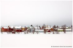 Colorful houses in winter on Pikisaari island, Oulu, Finland Colorful Houses, White Sky, House Colors, Landscapes, Frozen, Seasons, Winter, Outdoor, Finland