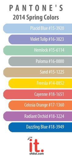 Pantone 2014 Spring Colors #design #color