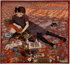 """oldpainting: """" Click image for 1020 x 936 size. Art Inconnu Felice Casorati, Girl on a red carpet, 1912. Felice Casorati was an Italian painter, sculptor, and printmaker. The paintings for which he is most noted include figure compositions, portraits..."""