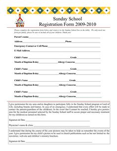 sunday school registration form Sunday School Registration Form | biz card | Pinterest ...