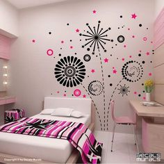 Geometric Fireworks Wall Decals Interior Graphics for a Modern Decoration of Wall Decals (Large) - Room accessories Study Room Design, Wall Design, Wall Decals For Bedroom, Bedroom Decor, Master Bedroom, Girls Bedroom, Bedrooms, Bedroom Vintage, Room Accessories