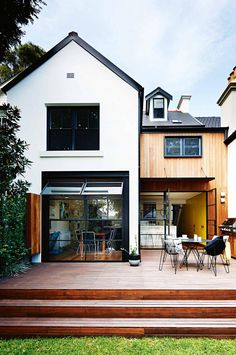 black & white exterior and deck