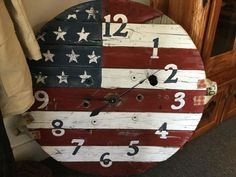 American flag clock made out of an old spool