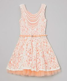 Perfect lil girl dress for an April Wedding! Look what I found on #zulily! Creamsicle Lace Crocheted Belted Dress by Beautees #zulilyfinds