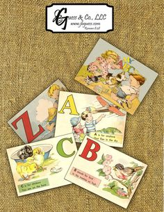 Printable Vintage Alphabet ABC Flash Cards Instant Download School Supply Children Back to School on Etsy, $5.99