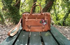 Handmade genuine Greek Full Grain Leather Overnight Bag / Travel / Weekender / Duffle or Gym (bag). Tobacco Color. Adjustable removable leather shoulder straps. 3 outside pockets. One in front 12.6 inches / 32 cm long and two side pockets 4.53 inches / 11.5 cm long. A durable and yet elegant bag that will last. Designed with enough room - yet not too bulky- for all the belongings youll need on weekend getaways or for your gym workout.  *Included in ETSY FINDS - best o...