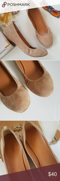 J.crew factory Anya suede flats These adorablr and super comfortable flats in natural color will go with everything! Suede upper with rubber soles. Excellent condition. True to size! No trades please. J. Crew Factory Shoes Flats & Loafers