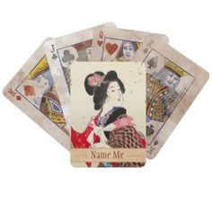 Suzuki Kason Sakura japanese woman lady art Deck Of Cards