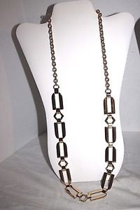 Women's Necklace Gold Tone Metal Chain Link Rectangle