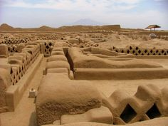The City of Chan Chan, Peru--the ancient adobe city of the Chimu culture is simply immense, covering almost 5,000 acres.