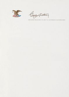 Letterhead used by Gene Autry in 1991. To compare: his 1949 letterhead.  Gene Autry, 1991 |Source