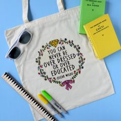 Oscar Wilde Inspirational Quote Tote Bag por TheRaspberryFinch