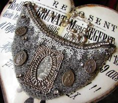 Antique beaded necklace religious statement rhinestone velvet Madonna and child one of a kind bib jewelry assemblage by madonnaenchanted on Etsy