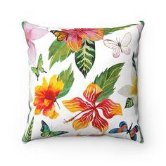 Hibiscus Decorative Throw Pillow, Florida Home Decor, Tropical Home Decor, Beach House Throw Pillows