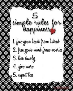 5 Simple Rules to Happiness from inkhappi.com {free download}
