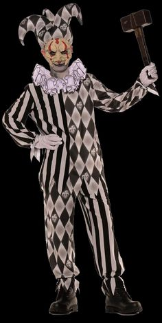 Evil Harlequin Jester Kids Costume $25.  Nothing harmless about this guy.  Guests beware!  Halloween Festive Harlequin Fête Party decorating ideas