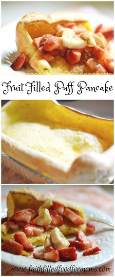 A super easy Breakfast Fruit Filled Puff Pancake Recipe. A delicious, healthy pancake packed w/ berries, cinnamon & sugar topping. Packed with lots of eggs! Pretty enough to serve to company but easy enough for a busy week morning. Breakfast Recipes, Dessert Recipes, Breakfast Fruit, Pancake Breakfast, Morning Breakfast, Breakfast Bites, Breakfast Healthy, Morning Food, Fruit Recipes