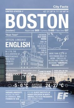 Infographic on Boston, Massachusetts Places Around The World, Travel Around The World, Travel List, Travel Guide, Travel Brochure Design, Travel Information, Tour Guide, Places To Travel, Adventure Travel
