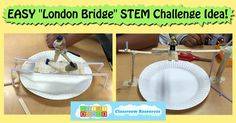 Here's a fun & easy idea for a bridge making STEM challenge that you can implement in your classroom in Pre-K, kinder, first or second grade, or higher!