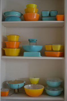 Pyrex Orange and Turquoise by mixed_chica