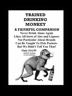 Drinking Poster Trained Monkey Ad Mini Poster by ArleyArtEmporium, $11.99