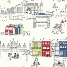 Brighton Wallpaper featuring illustrations of the Royal Pavilion, Hove beach huts, the Palace (Brighton) Pier and Brighton beach Wall Stickers Wallpaper, Diy Wallpaper, White Wallpaper, Bathroom Wallpaper, Designer Wallpaper, Pattern Wallpaper, Quirky Wallpaper, Seaside Wallpaper, Seaside Theme