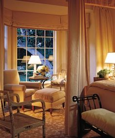 Bedroom - beautiful retreat - soft hued room with a cozy reading area | Marjorie Shushan via Architectural Digest