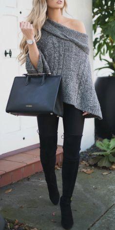 Grey poncho sweater http://bellanblue.com