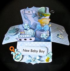 Card Gallery - 3D New Baby Boy Rubber Band Pop Up Box Card