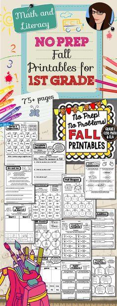 1st Grade NO PREP Fall Printables