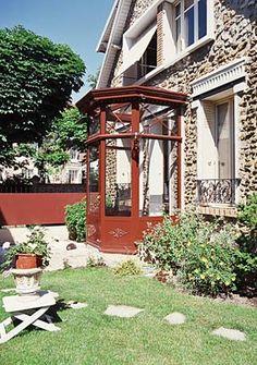 Sas d'entrée Sas Entree, Front Porch, Gazebo, New Homes, Outdoor Structures, Windows, Facade, House, Inspiration