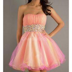 Princess Strapess Organza Mini Length Beaded Waistband Prom Dresses ($137) ❤ liked on Polyvore