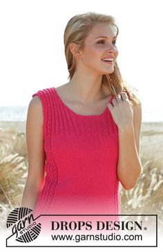 Pretty pink / DROPS – Free knitting patterns by DROPS Design - knittings headband Knitting Designs, Knitting Patterns Free, Knit Patterns, Free Knitting, Pretty Patterns, Drops Design, Drops Patterns, Summer Knitting, Knitted Tank Top