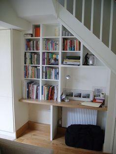 Home Organizing Ideas - Under-Stair Bookshelves