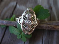 Diamond Filigree Ring 14k white gold by LuceesTreasureChest