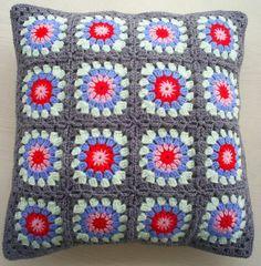 Granny square cushion #crochet #grey