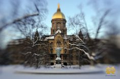 Golden Dome in Winter. Shot with special-effect lens..Photo by Matt Cashore/University of Notre Dame